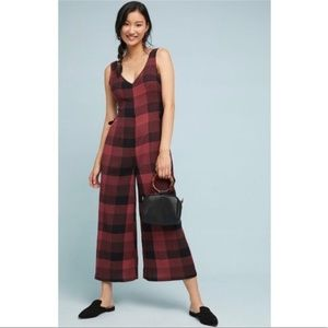 cc72def445d Anthropologie CHECKED WIDE-LEG JUMPSUIT new